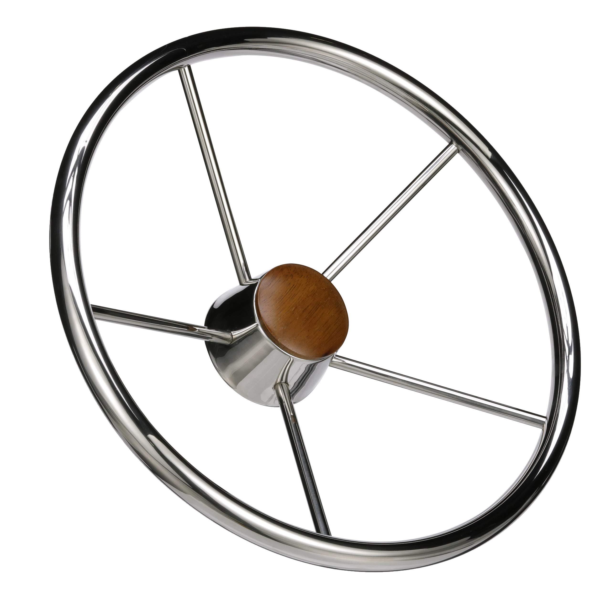 Seachoice 28551 5-Spoke Destroyer Steering Wheel - Stainless Steel - Genuine Teak Center Cap, Chrome, 15-inch Diameter by SEACHOICE