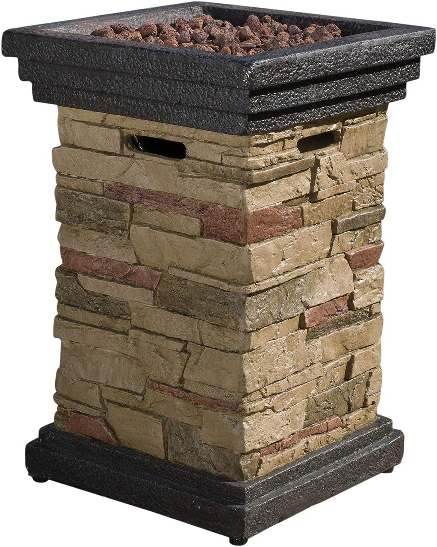 "Christopher Knight Home Chesney Stone MGO Fire Column - 40,000 BTU, 19.5"", Natural Stone"