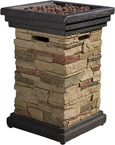 Christopher Knight Home Chesney Stone MGO Fire Column – 40,000 BTU, 19.5 , Natural Stone