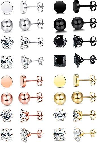 Star Moon Bear Stud Earrings Classic Rainbow Color Stainless Steel Bear Set Sale