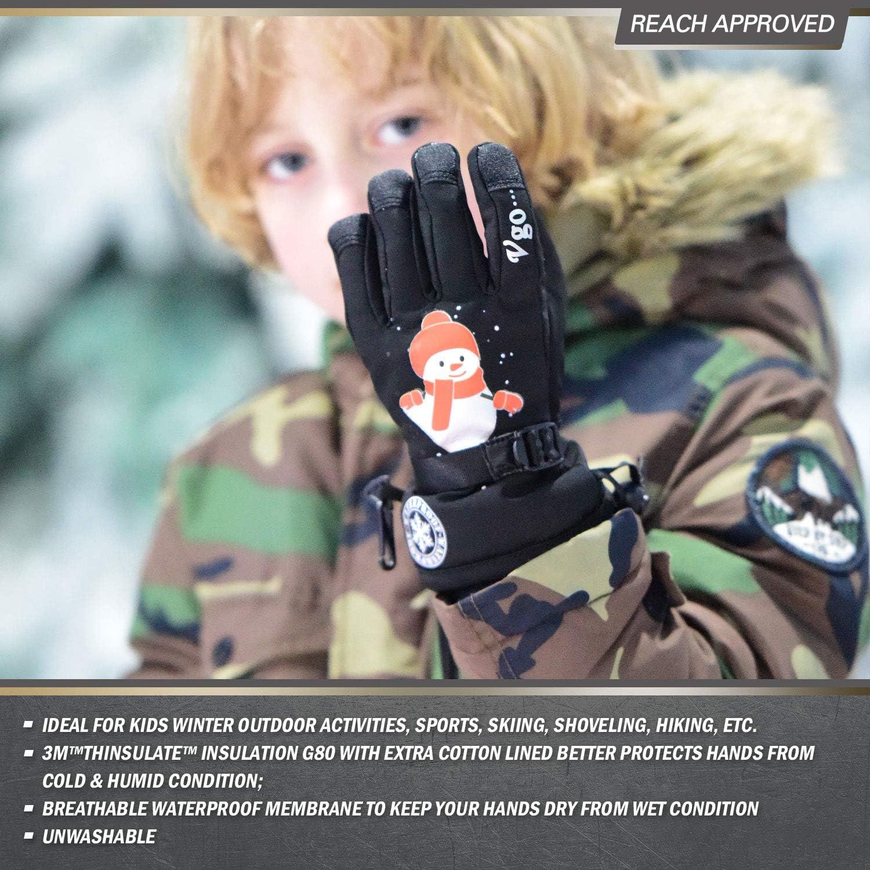 20℃ o Superior 3M Thinsulate G80 Forrado Impermeable Guantes Invierno Guantes de Deporte y Aire Libre Esqu/í y Snowboarding Ni/ños 1Par,Negro,PVC2460FW Vgo..