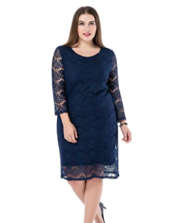 Chicwe Womens 34 Sleeves Lined Plus Size Lace Dress Navy 28