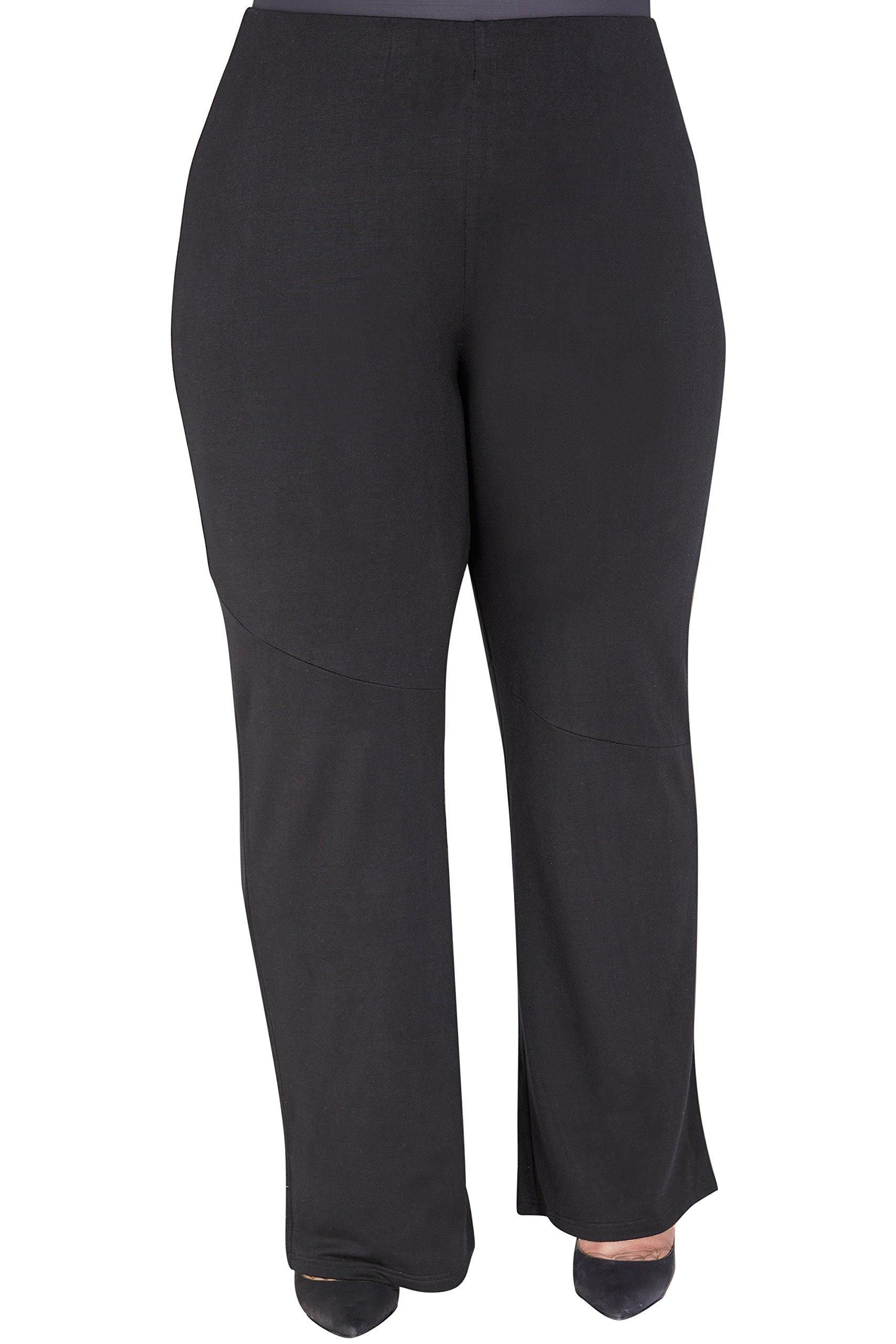 Poetic Justice Plus Size Curvy Fit Women's Wide-Leg Stretch Palazzo Pants Black Size 2X