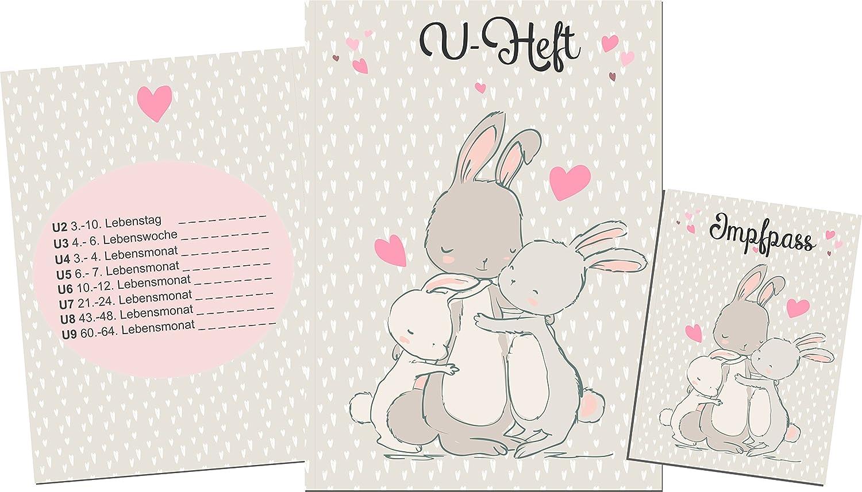 wolga-kreativ Set U-Heft und Impfpass Hülle Hasenfamilie mit Name Untersuchungshefthülle Umschlag Impfpass (Set ohne Namen)