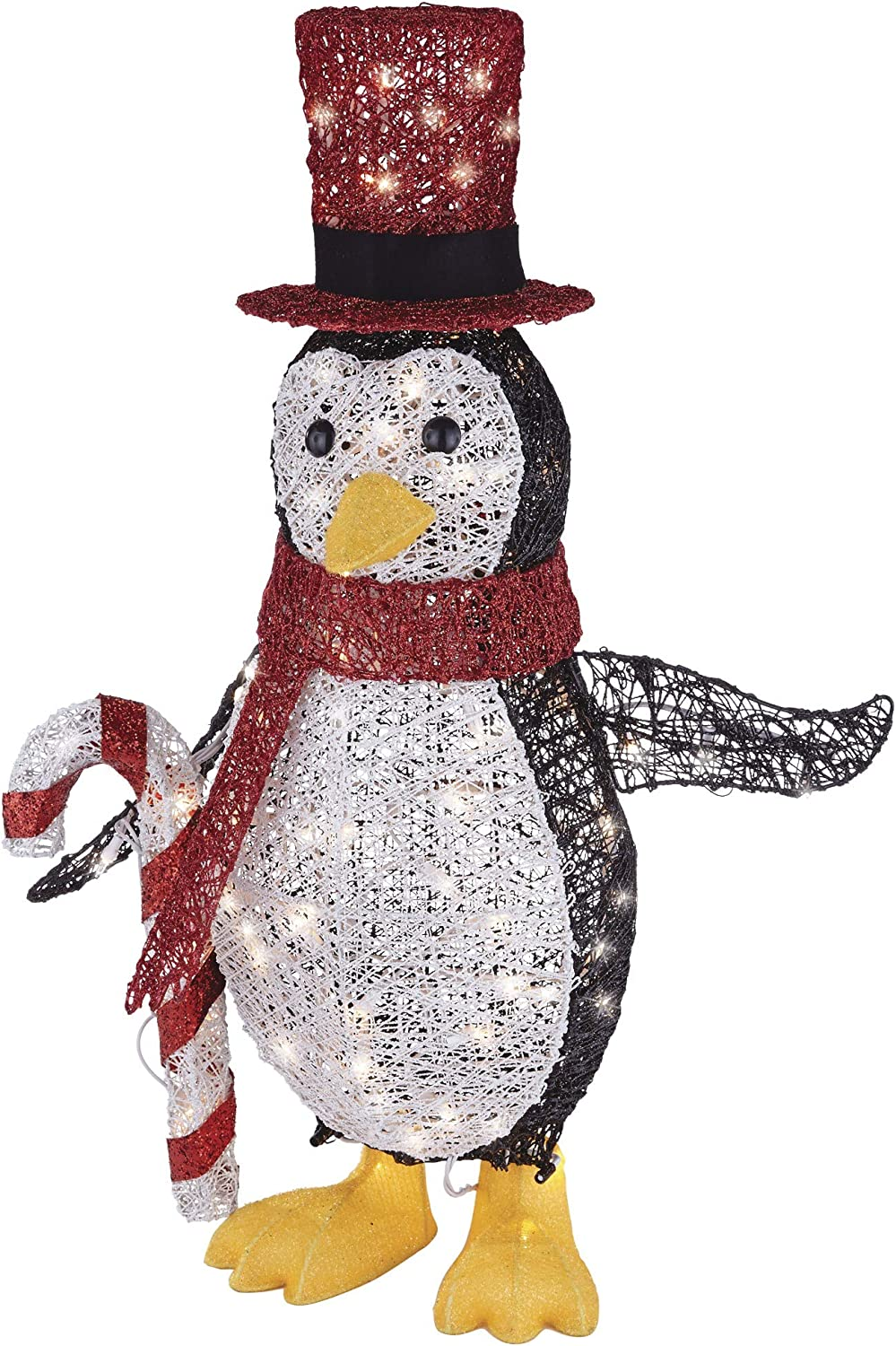NOMA Pre-Lit Light Up Incandescent Penguin with Red Top Hat | Outdoor Christmas Lawn Decoration | 2.75 ft