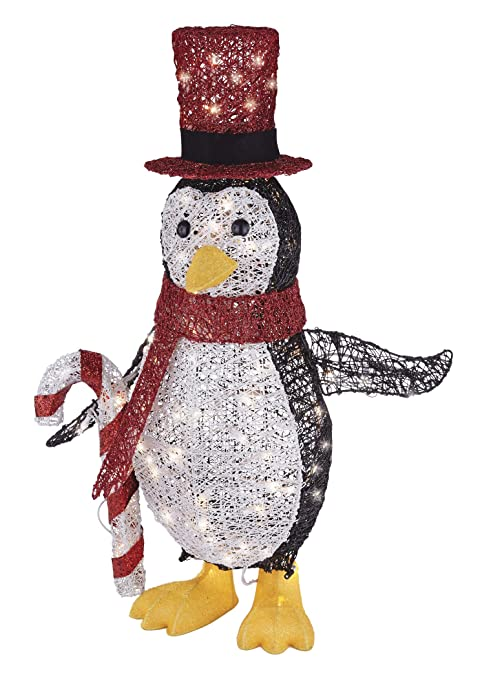 Noma Pre Lit Light Up Incandescent Classic Penguin With Red Top Hat Christmas Holiday Lawn Decoration Indoor Outdoor 100 Count Lights 2 75