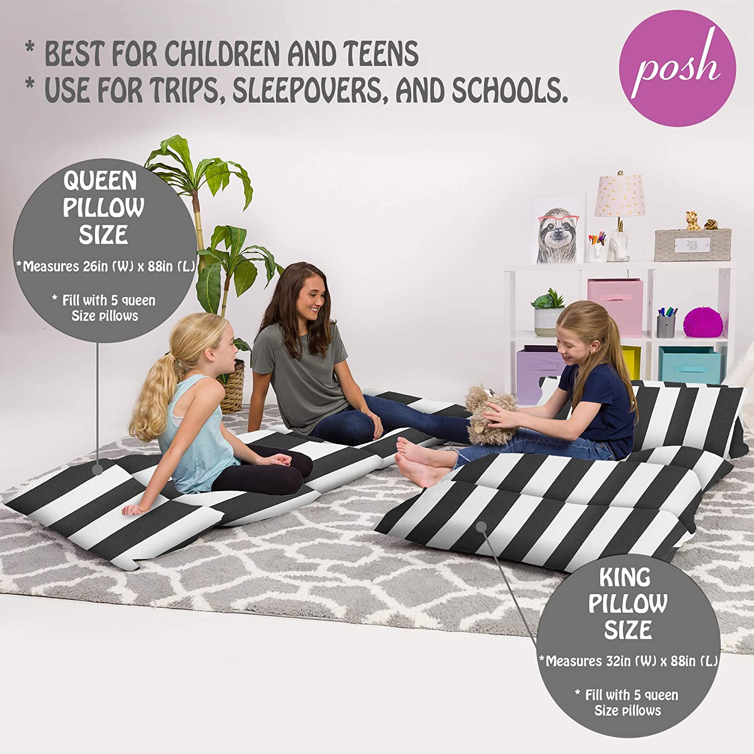 Kids Floor Pillow Cover - Gifts for Teenage Girls King Pillows NOT included King Pillow Size Premium Cushion and Lounger Covers for Pillows Cozy Soft Gray