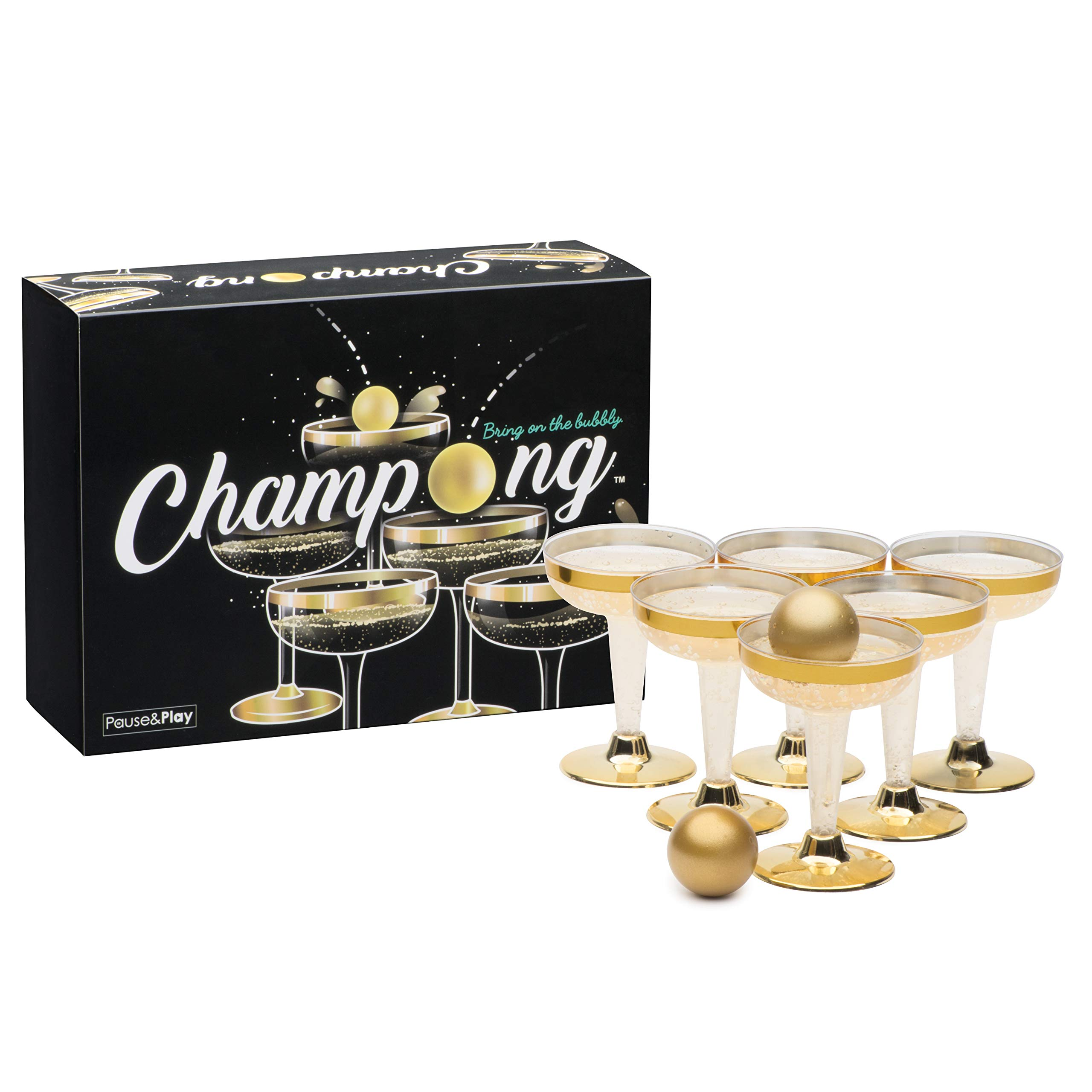 Pause&Play Champong - Luxury Kit - Party Table Prosecco Champagne Pong Game Set - for Birthday, Bachelor, Bachelorette, New Years, Celebration, Party Gift - 12 Plastic Cups and 3 Metallic Gold Balls