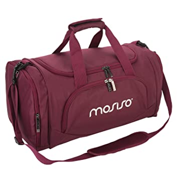 MOSISO Canvas Fabric Foldable Gym Bag Sports Duffels Lightweight Athletic Sport Shoulder Wine Red