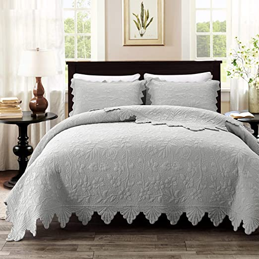 Amazon Com Brandream Luxury Farmhouse Bedding Quilt Set Grey King Size Quilted Bedspread Coverlet Set Cotton 98x106 With Standard Size Pillow Shams 3 Piece Kitchen Dining