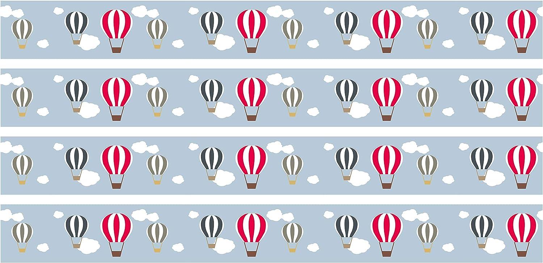 4/pi/èces 560/x 15/cm d/écoration Murale Ciel wandmotiv24 Frise adh/ésive Montgolfi/ère b/éb/é Frise Murale Galon Frise Papier Peint