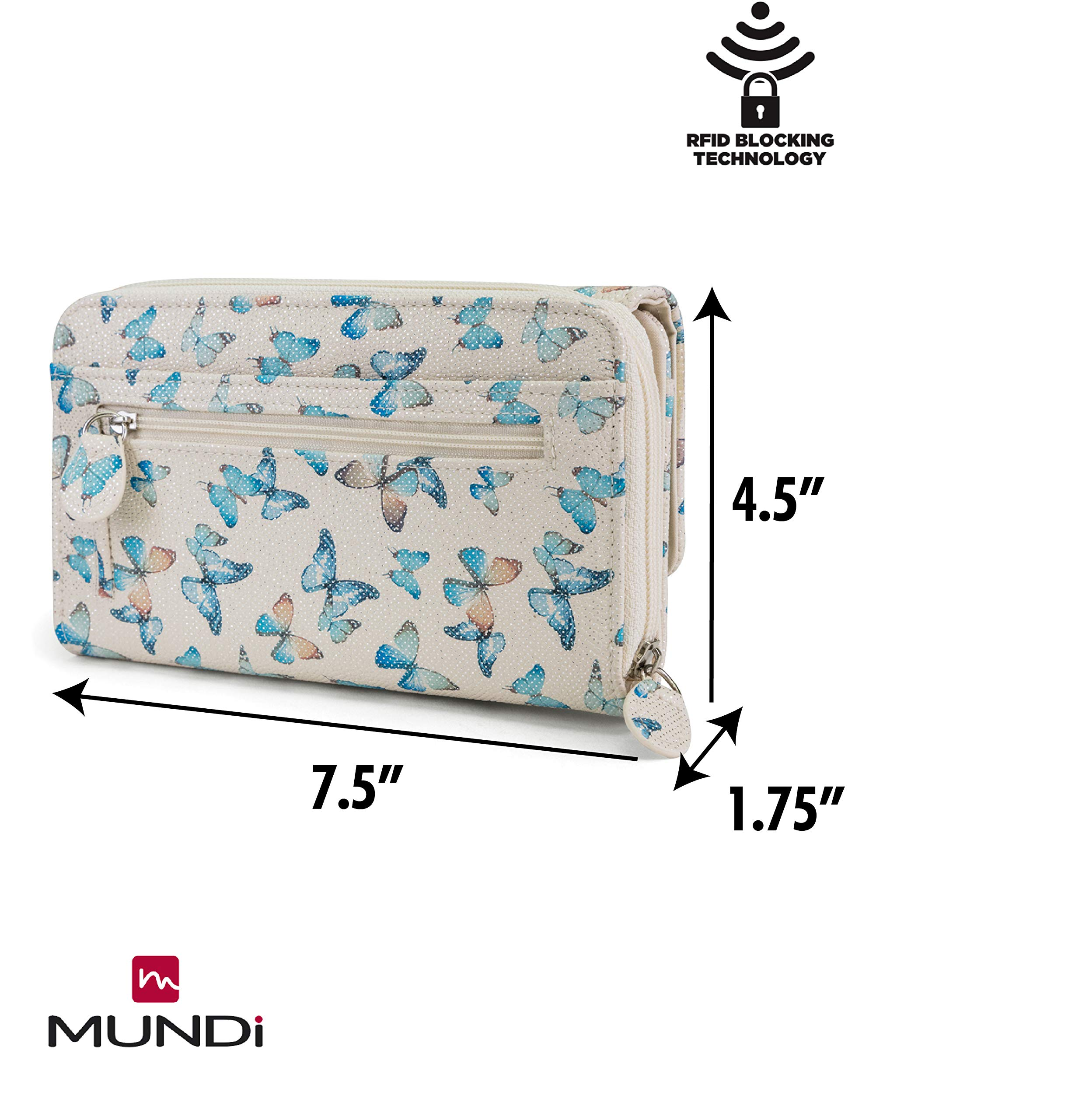 MUNDI Big Fat Womens RFID Blocking Wallet Clutch Organizer Removable Wristlet (Flutter) by Mundi (Image #4)