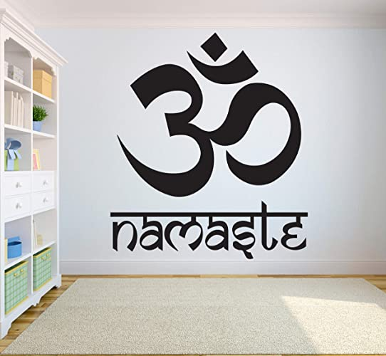 Amazoncom Yoga Wall Decal Quotes Namaste Decals Lotus Flower Wall