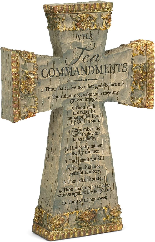 Dicksons The Ten Commandments Antiqued Filigree 9 Inch Resin Tabletop Cross