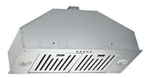 KOBE INX2730SQB-700-2 Brillia 30-inch Built-in/ Insert Range Hood, 3-Speed, 750 CFM, LED Lights, Baffle Filters