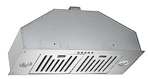 KOBE INX2730SQB-700-2 Brillia 30-inch Built-in/ Insert Range Hood, 3-Speed, 750 CFM, LED Lights, Baffle Filters