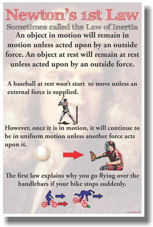 amazon com newton s 1st law new classroom physics science poster