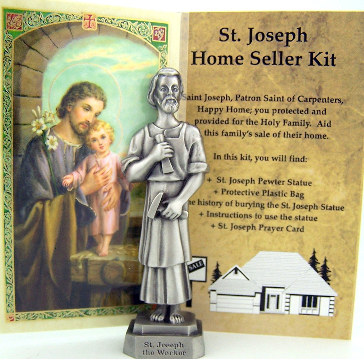 Inspire Nation Quality St Joseph Home Selling Kit Pewter Religious Statue Instructions and Prayer