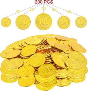 Sweepstakes: Wowok 200 PCS Plastic Gold Coins for Pretend and Play