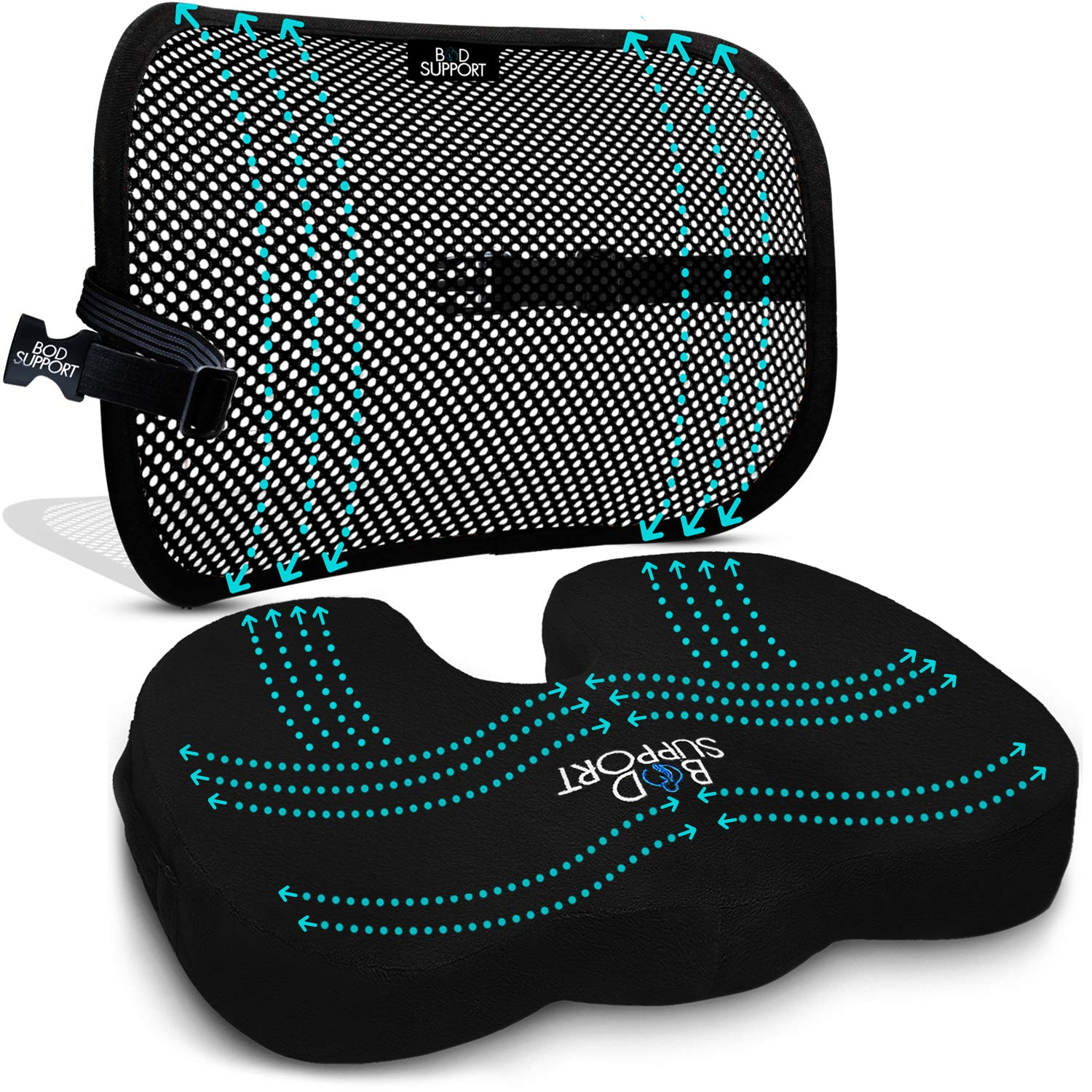 Back Support Seat Cushion Set - Memory Foam With Orthopedic Design To Relieve Coccyx, Sciatica And Tailbone Pain From Prolonged Sitting In The Car, Office Or Kitchen Chairs - Mesh Breathable Material by Bod Support