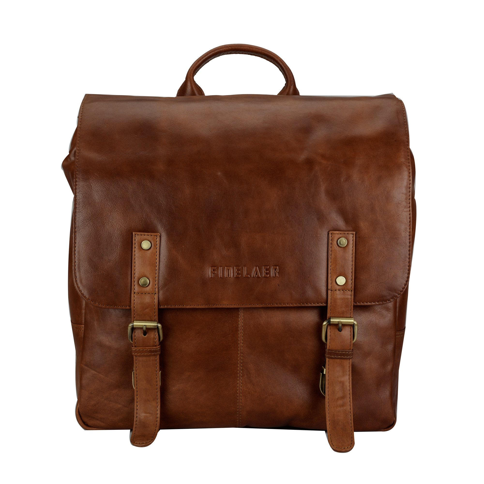 Finelaer Vintage Brown Laptop Backpack Daypack Rucksack Travel Hiking Bag Men Women by FINELAER (Image #1)