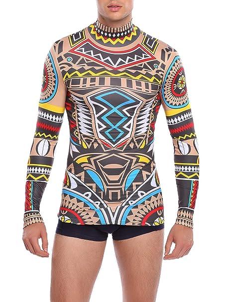 526126ec65451 COOFANDY Men's Slim Fit African Tribal Tattoo T-Shirt Maui Printed Nude  Shirt