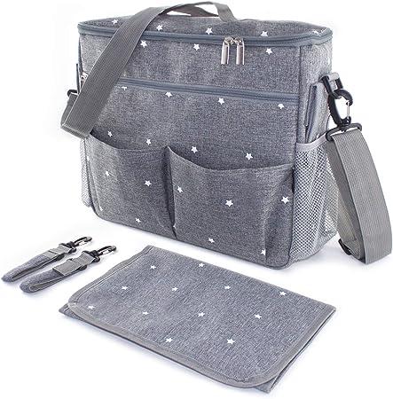 Bolso cambiador para carrito de bebé. Organizador con interior térmico, ganchos y correa universal. Compacto y moderno. Gris/estrellas.