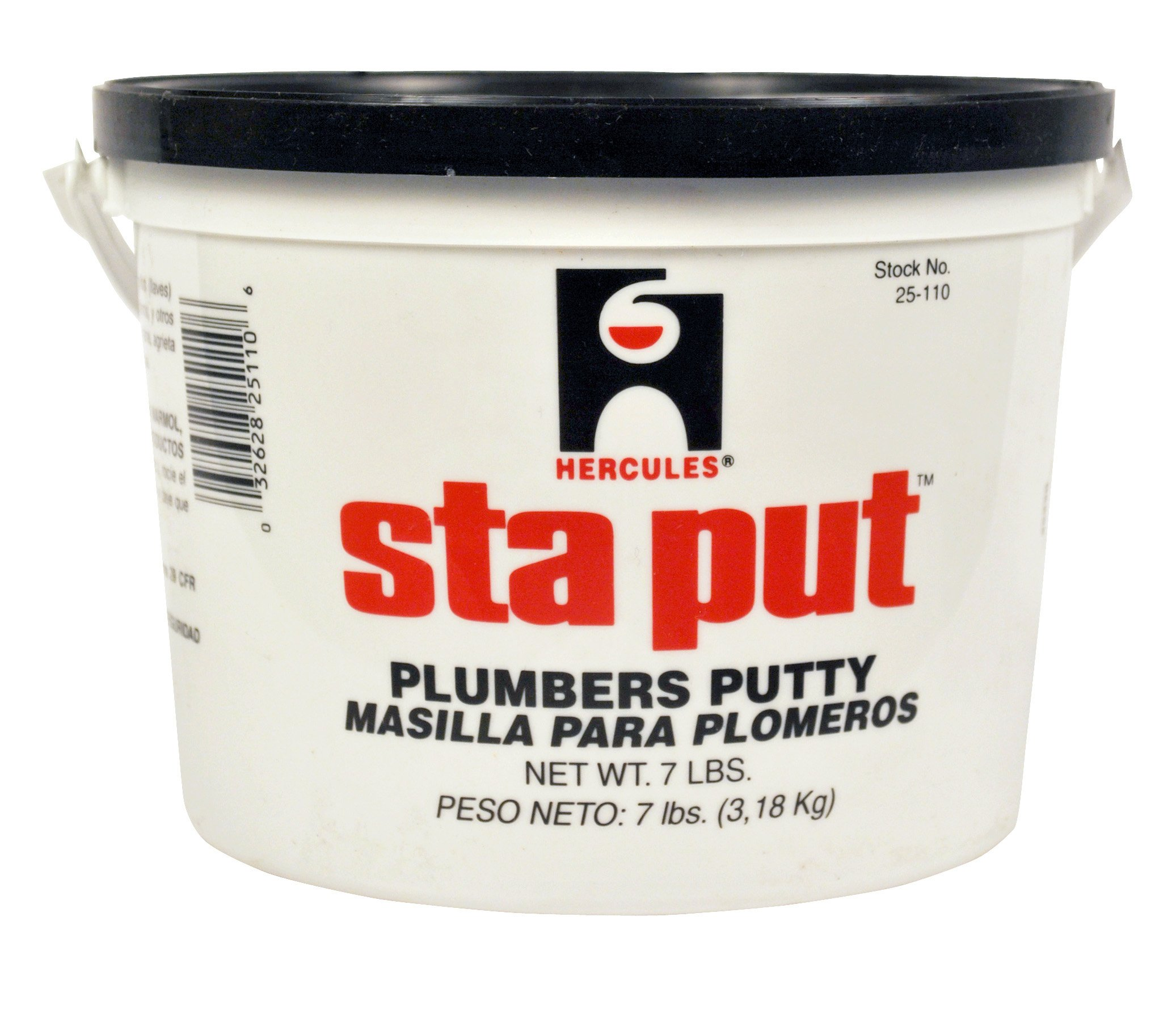 Oatey Oatey Hercules 25110 Sta Put Plumber's Putty Plastic Pail with Handle, 7 Pounds