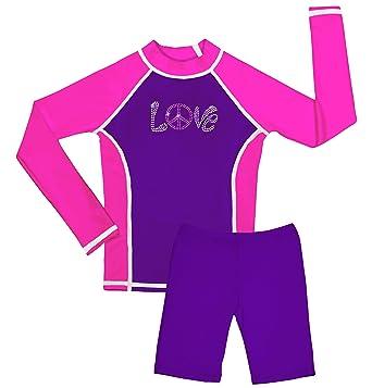 ae6c5f78f7b60c Amazon.com: grUVywear UV Sun Protective(UPF 50+) Girls Long Sleeve  Rashguard Top & Swim Short Set: Clothing