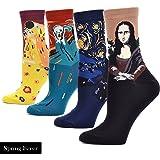 Spring fever Men's Art Style Oil Painting Mona Lisa Casual Crew Socks
