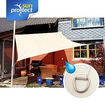 sunprotect 83223 Waterproof Toldo / Vela de Sombra, 3.6 x 3.6 m, cuadrado, crema: Amazon.es: Jardín
