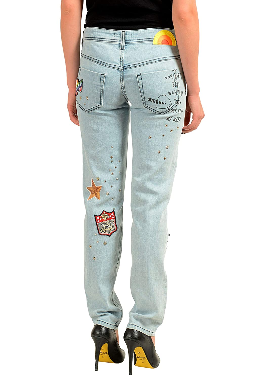 Just Cavalli Womens Blue Embellished Stretch Skinny Jeans US 26 IT 40