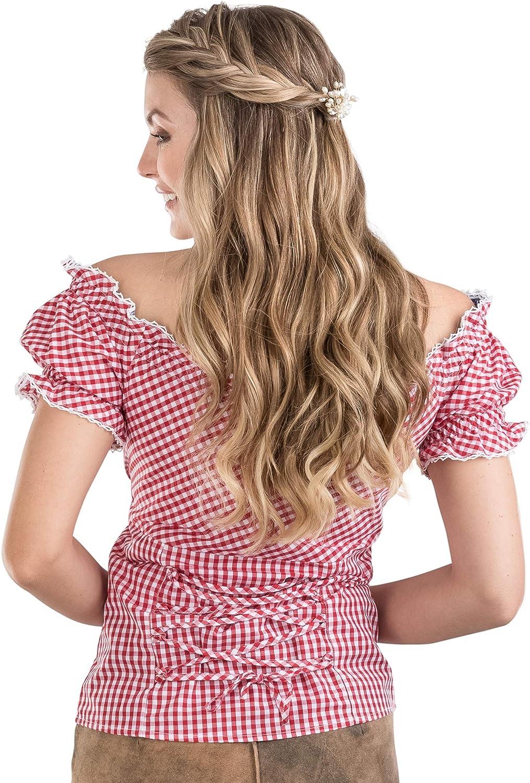 Sch/öneberger Trachten Couture Trachtenbluse Alpenstern div schulterfreie Carmenbluse mit hinterer Schn/ürrung /& tailliert Farben Elegante