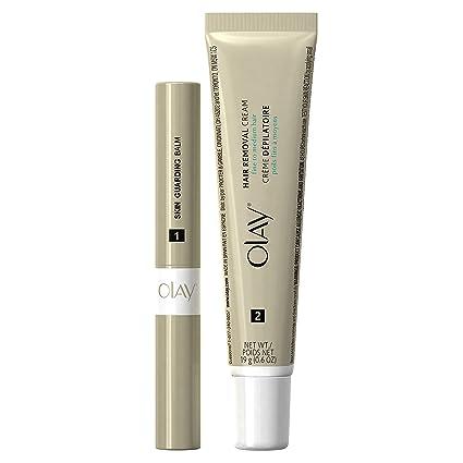 Olay Duo - Kit de crema depilatoria facial, acabado suave, para ...