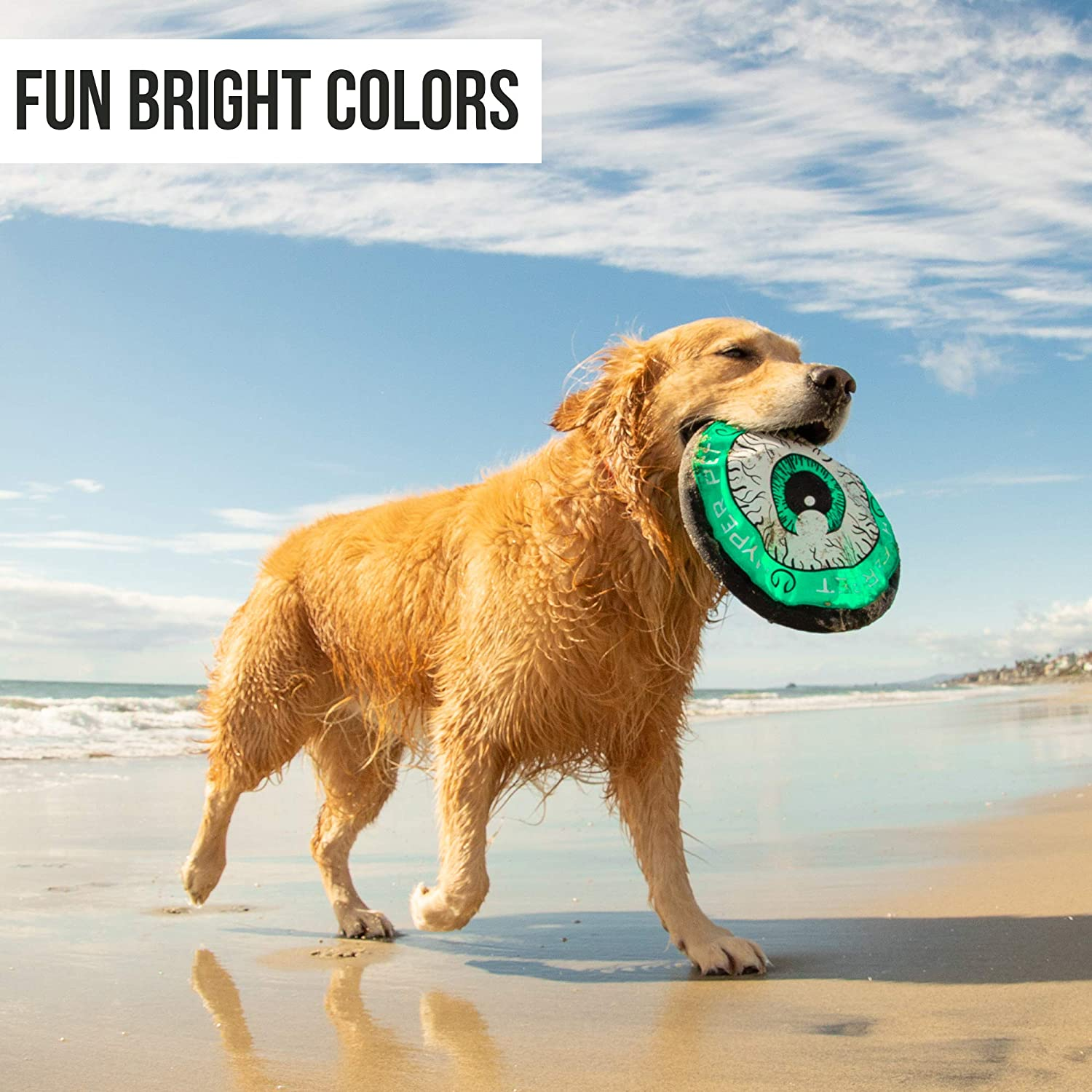 Flying Disc Dog Fetch Toy /– Floats in Water /& Safe on Teeth Colors Will Vary Hyper Pet Flippy Flopper Dog Frisbee Interactive Dog Toys