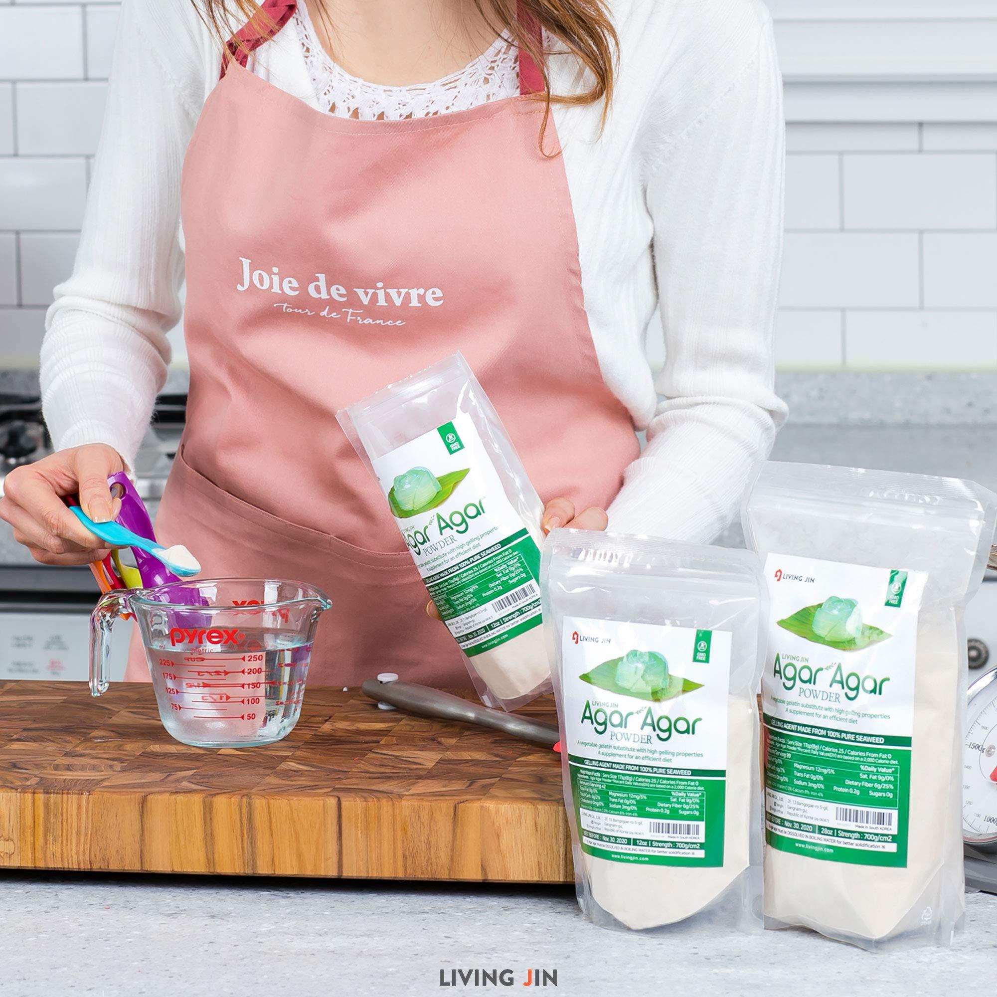 LIVING JIN Agar Agar Powder 28oz (or 4oz | 12oz) : Vegetable Gelatin Powder Dietary Fiber [100% Natural Seaweed + Non GMO + VEGAN + VEGETARIAN + KOSHER + HALAL] by LIVING JIN (Image #6)