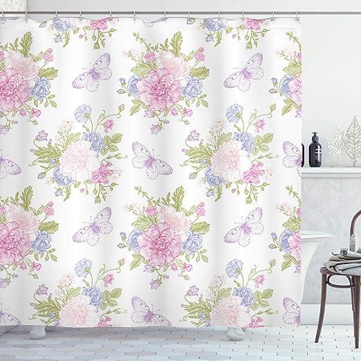 "Purple Delicate Flower Art Fabric SHOWER CURTAIN 70/"" w//Hooks White Floral"