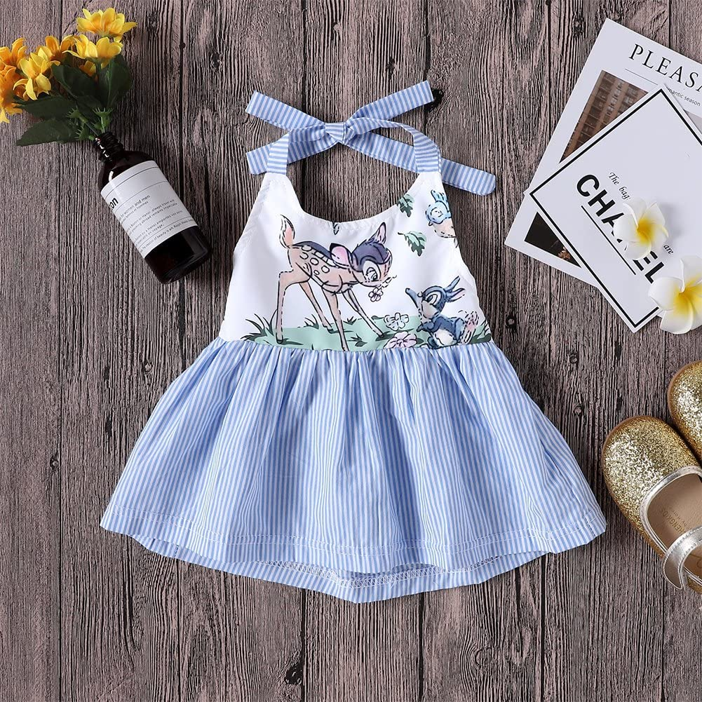 JOY DRAGON 2018 Summer Fashion Cute Newborn Baby Girl Dress Toddler Kids Sleeveless Lace up Stripes Princess Dresses