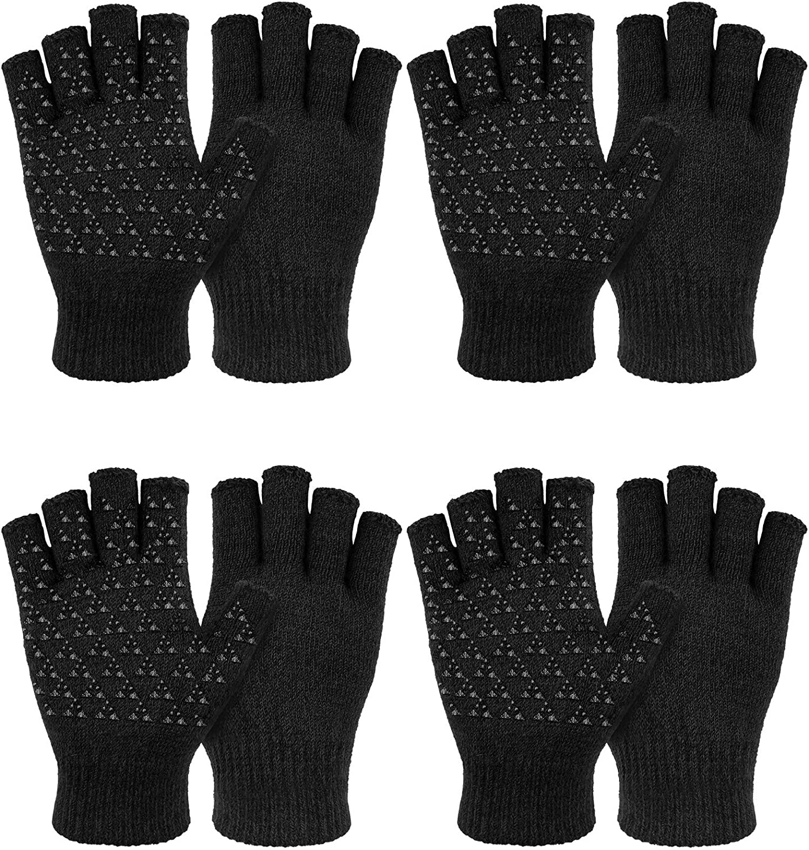 4 Pairs Unisex Winter Half Finger Knit Gloves Stretchy Non-Slip Winter Warm Knitted Fingerless Gloves