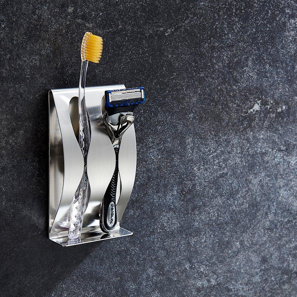 Soporte de Cepillo de Dientes Mueble de Baño Soporte para Maquinilla de Afeitar de Acero Inoxidable para Encimeras Gancho para Cepillo de Dientes Soporte ...
