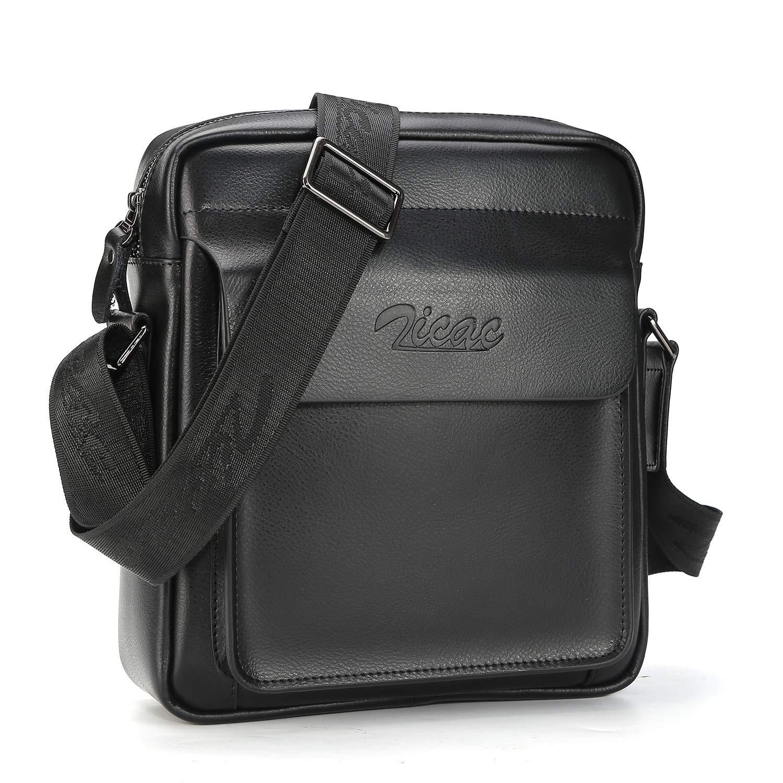 0ca6d33a4ca Men Cow Split Leather Messenger Shoulder Bag Office Handbag iPad Air Mini  Briefcase (Black)  Amazon.co.uk  Luggage