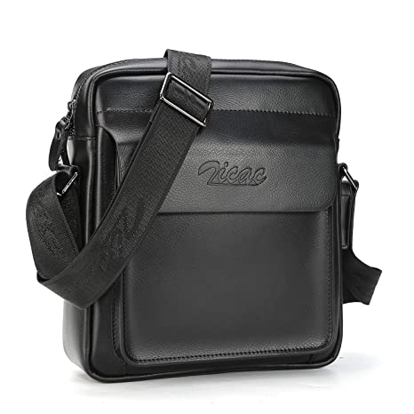 ff522e7e5e Men Cow Split Leather Messenger Shoulder Bag Office Handbag iPad Air Mini  Briefcase (Black)  Amazon.co.uk  Luggage