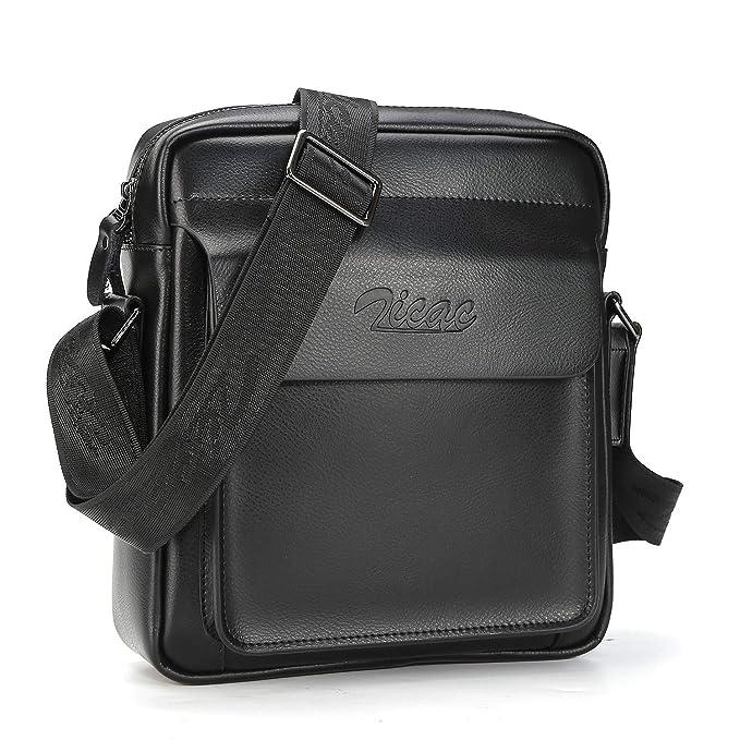 6c5c1fd141a09 Zicac Men's Genuine Leather Shoulder Bag Crossbody Purse Messenger Bag  (Black)