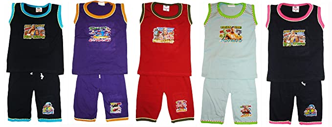 2851b378e06 Kids boys and girls sleeveless top/tshirt and three fourth shorts/bottom in  multicolor pack of 5