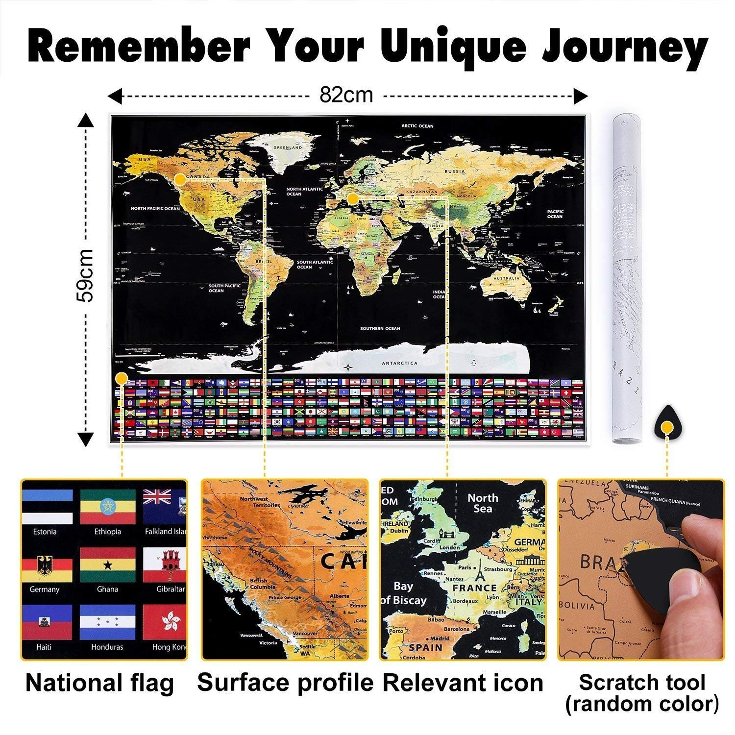 Scratch Off World Map Poster Travel Tracker Journal Log Giant Map Of The World With Country Flags Gift Wall Decor CERCHIO map-001