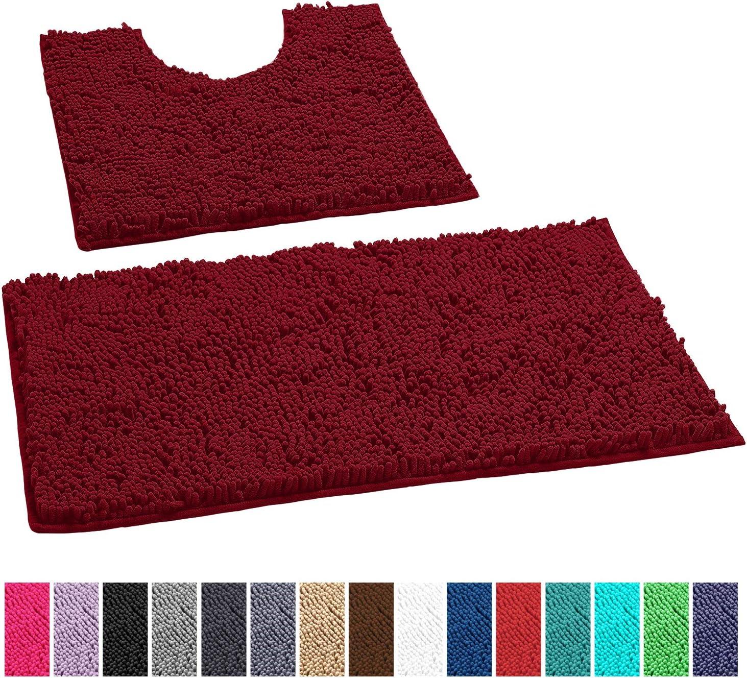 LuxUrux Bathroom Rugs Luxury Chenille 2-Piece Bath Mat Set, Soft Plush Anti-Slip Shower Rug +Toilet Mat.1'' Microfiber Shaggy Carpet, Super Absorbent Machine Washable Bath Mats(Curved Set, Maroon-Red)