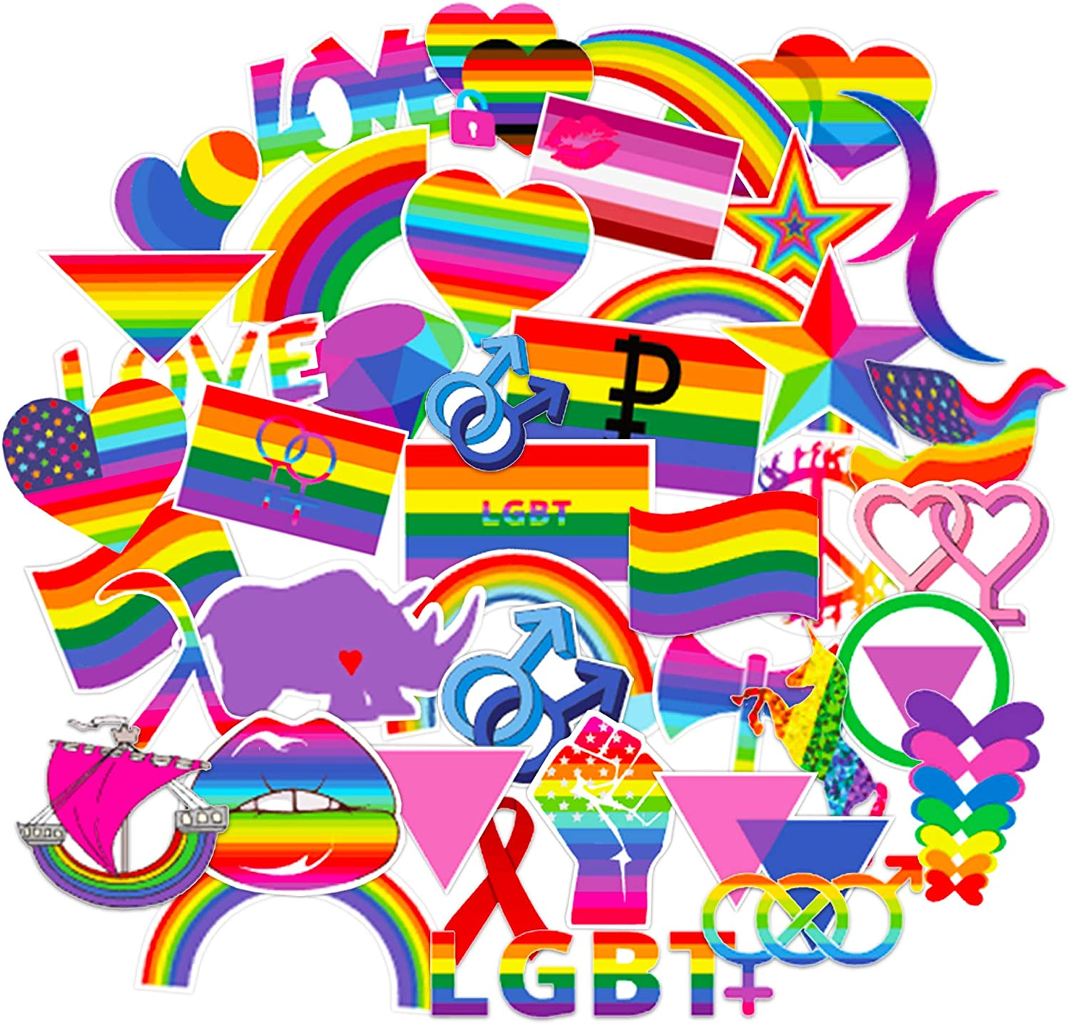 Pride Stickers Variety Pack ~ Over 160 Pride Stickers! ~ Gay Lesbian LGBT+ Rainbow Flag Sticker Pack for Water Bottle, Car, Bike, Suitcase, Phone, Laptop, Cup, Notebook