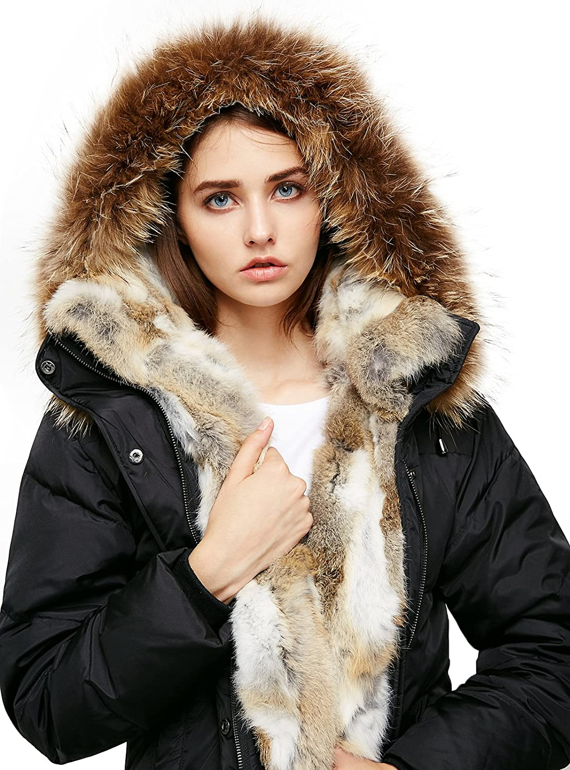 Escalier Women's Winter Down Coat With Geniune Raccoon Fur Hooded Parka FS-188