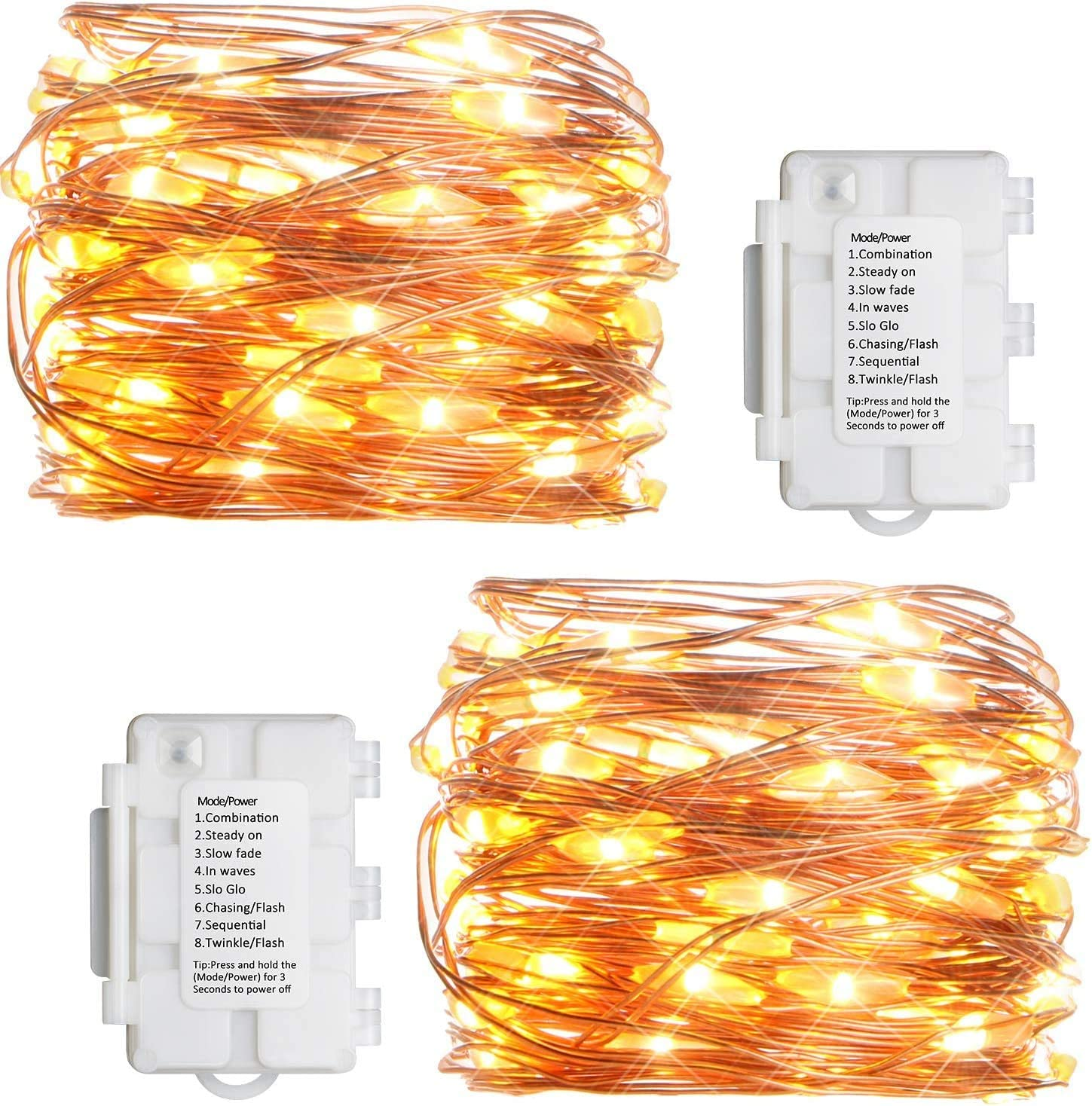 koopower 2 Pack Outdoor Fairy Lights, 16ft 50 LEDs Battery Operated String Lights 8 Modes Twinkle Firefly Lights Copper Wire Light for Gardens Christmas - Warm White
