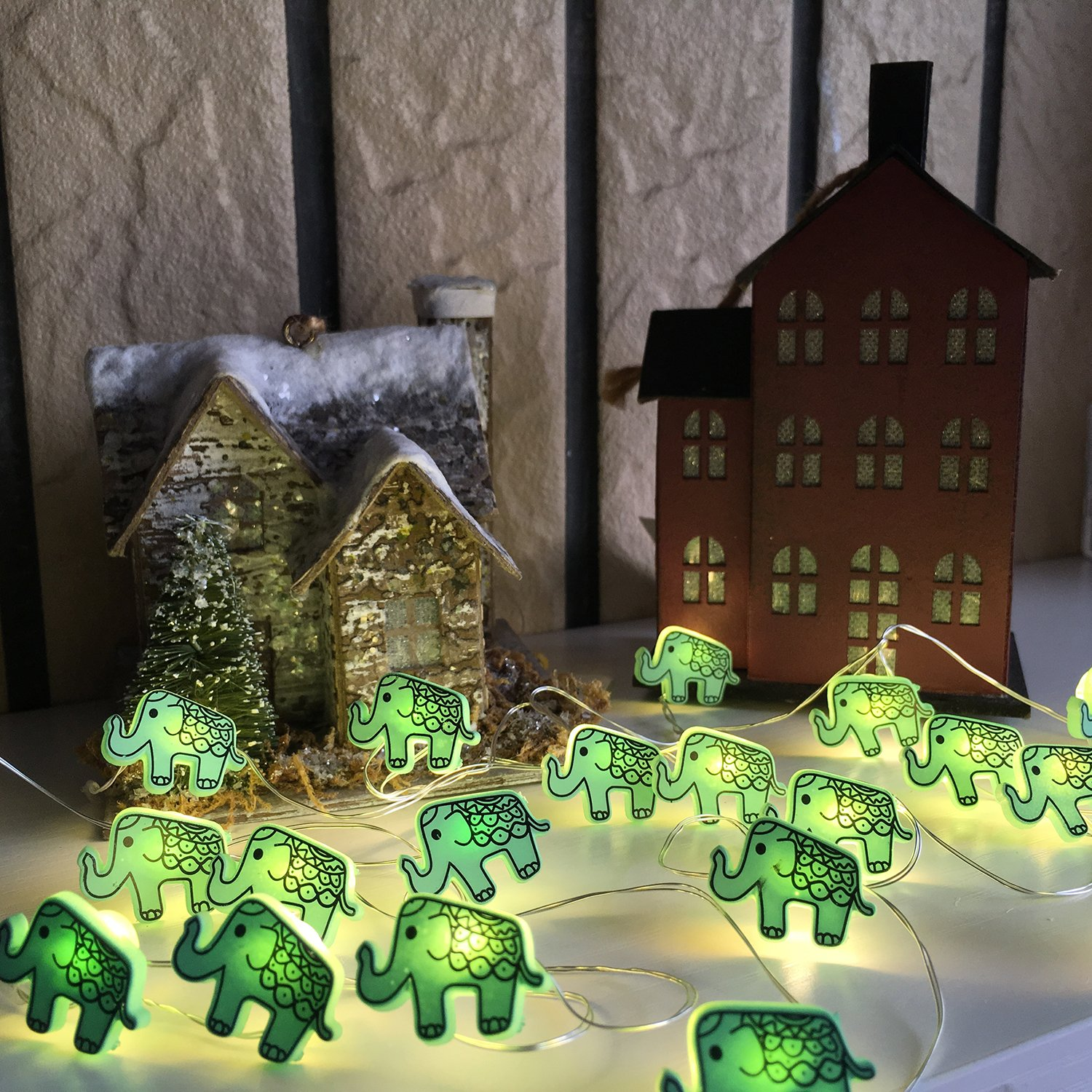 Animal Novelty Lights String Battery Operated with Timer Control 20 Micro LED Wire Lights Waterproof 2 Pack Elephant String Lights for Home Decoration,Kids Bedroom,Christmas,Holiday,(ELE2) by VagaryLight (Image #4)